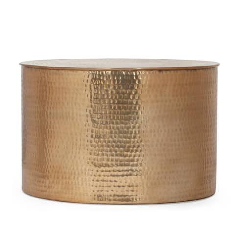 """Yantic Modern Handcrafted Aluminum Drum Coffee Table by Christopher Knight Home - 23.25"""" L x 23.25"""" W x 14.75"""" H"""