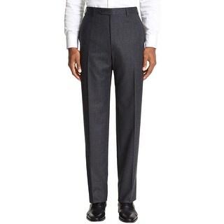 Ralph Lauren Big and Tall Flannel Flat Front Dress Pants Charcoal 42/32 - 42