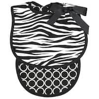 Raindrops Unisex Baby Zebra Bib And Burp Set, Black - One size