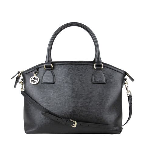 974cbe58 Gucci GG Charm Black Leather Large Convertible Dome Bag With Detachabel  Strap 449660 1000