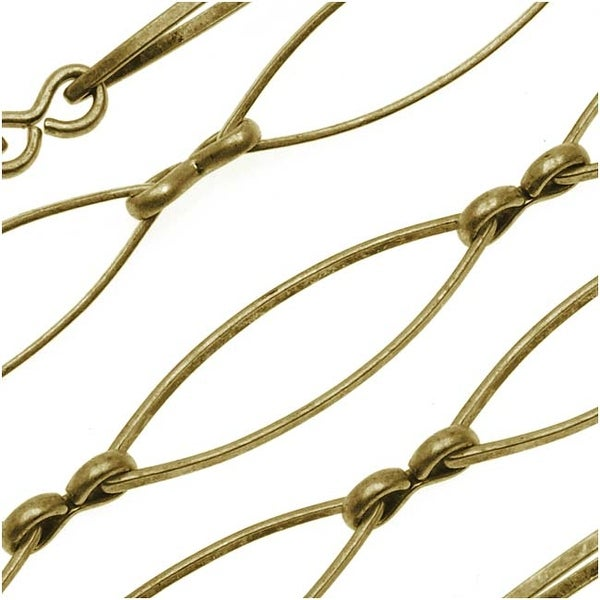 Antiqued Brass Eye Link Chain 8 x 28.5mm Bulk By The Foot