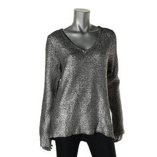 Calvin Klein Jeans Womens Wool Blend Metallic Sweatshirt - L