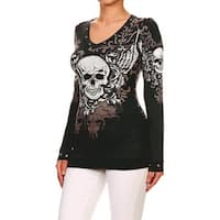 Funfash Women Plus Size Empire Waist Black Short Sleeves Top Shirt