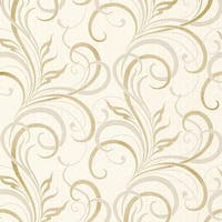 Brewster 2618-21358 Rauda Champagne Modern Scroll Wallpaper - champagne scroll - N/A