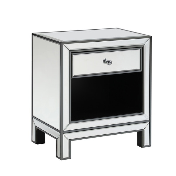 Mirrored Rectangle 1-drawer End Table. Opens flyout.