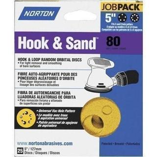 """Norton 04062 Hook and Loop Sanding Disc, 5"""" Dia., Grit 80"""