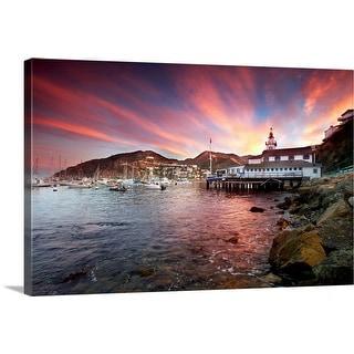 """Avalon harbor at sunset"" Canvas Wall Art"