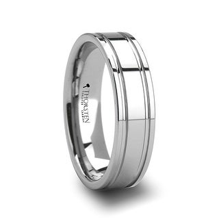 ANCHORAGE Dual Offset Grooves Mens Tungsten Carbide Wedding Ring - 6mm