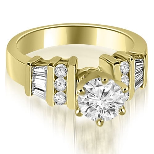 1.00 cttw. 14K Yellow Gold Round and Baguette Cut Diamond Engagement Ring