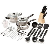 Gibson -89117.32 Lybra Cookware Combo Set, 32-Piece, Mirror Polished Stainless Steel