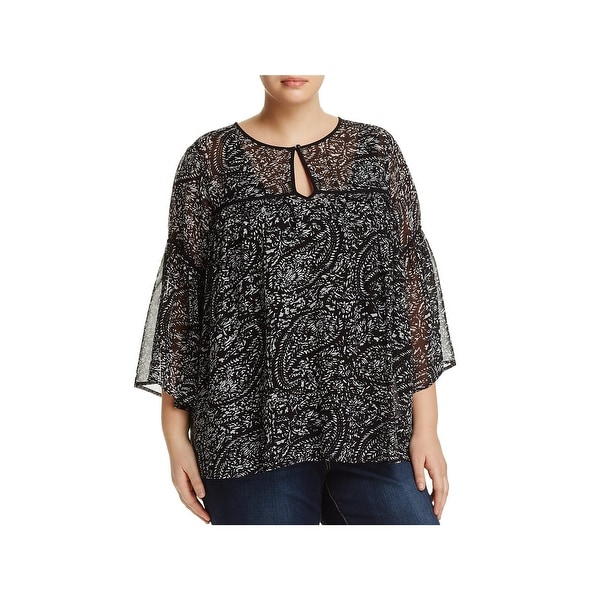 Lucky Brand Womens Plus Dress Top Printed Bell Sleeve