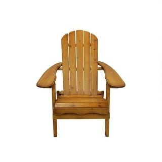 "40"" Natural Cedar Wood Folding Outdoor Patio Adirondack Chair"