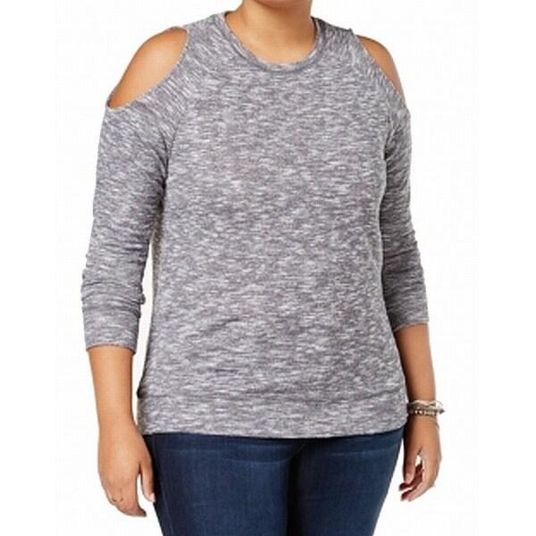 Derek Heart Women's Plus Marled Crewneck Sweater