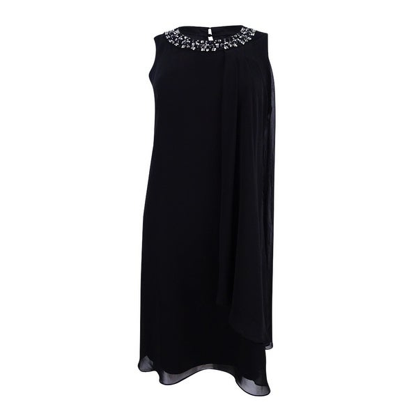 3a8e7e2c7cc50 Shop Vince Camuto Women s Embellished Trapeze Dress - Black - On Sale -  Free Shipping Today - Overstock.com - 23085682