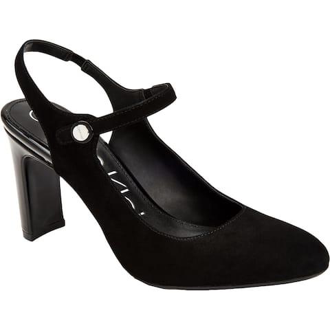 Calvin Klein Womens Omaha Slingback Heels Button Ankle Strap