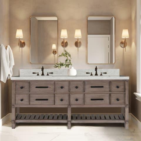 60 inch Grey Oak Double Vanity with Quartz Top, Solid Mahogany Base