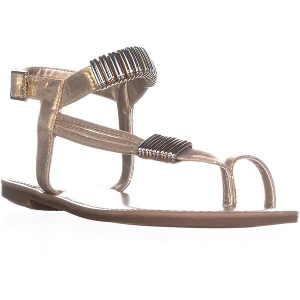 B35 Vera Glitter Toe Ring Flat Sandals, Light Gold - 10 us