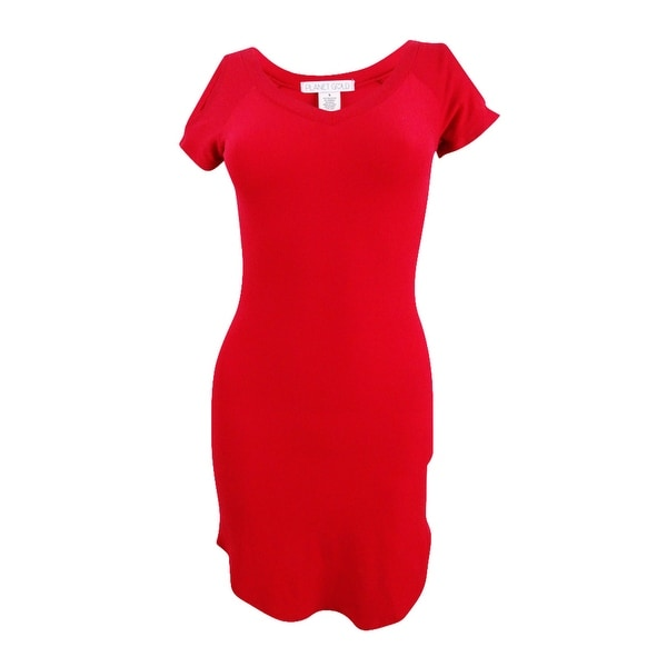 Planet Gold Juniors' Cold-Shoulder Bodycon Dress - jester red