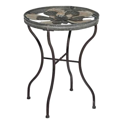 """Round Silver Metal Table With Glass Top And Floral Design Inlay 17"""" X 24"""" - 17 x 17 x 24Round"""