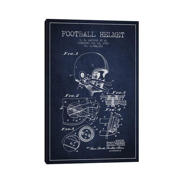 "iCanvas ""Football Helmet Navy Blue Patent Blueprint"" by Aged Pixel Canvas Print. Opens flyout."