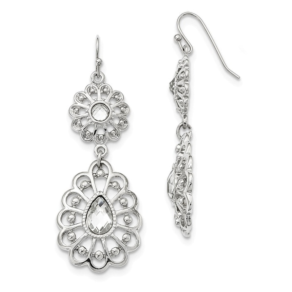 Silvertone Crystal Dangle Shepherds Hook Earrings
