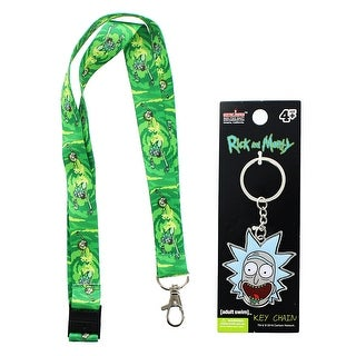 Rick and Morty Portal Lanyard and Rick Keychain Bundle - Multi