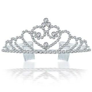 Bling Jewelry Rhinestone Crystal Bridal Tiara Heart Crown Silver Plated