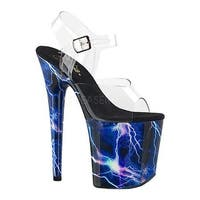 60c3278295f Pleaser Women s Flamingo 808 Storm Platform Ankle Strap Sandal Clear  Synthetic Blue Hologram