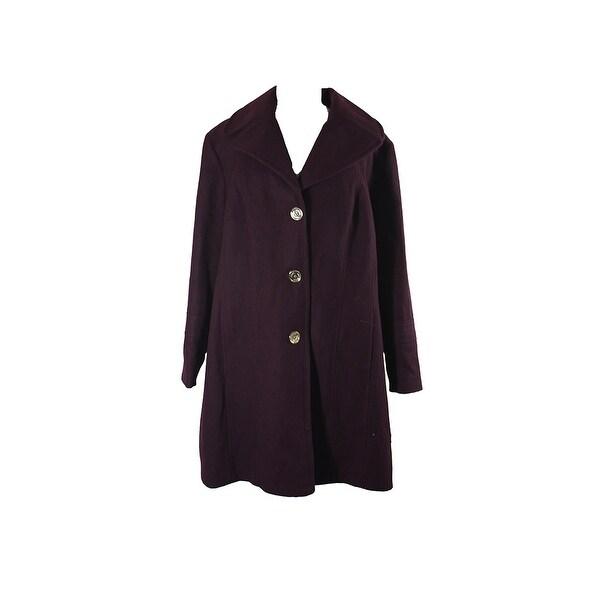 Shop Michael Michael Kors Plus Size Burgundy Hooded Walker Coat 2X ...