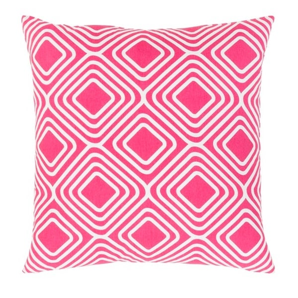 "20"" Hot Pink and Snowflake White Woven Decorative Throw Pillow"