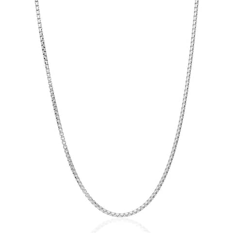 .925 Solid Sterling Silver 1.5MM Round Box Link .925 Rhodium Necklace Chain, Silver Chain for Men & Women, Made In Italy