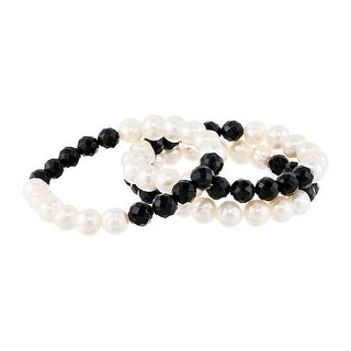 Honora 8 mm Natural Onyx & 9-10 mm Freshwater Pearl Stacking Stretch Bracelets