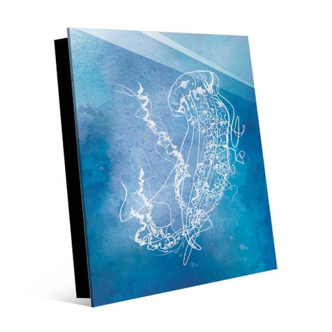 Kathy Ireland Surfacing Jellyfish Going Up on Blue Nautical on Acrylic Wall Art Print