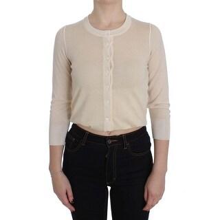 Dolce & Gabbana Dolce & Gabbana Beige Cashmere Silk Cardigan Sweater - it40-s