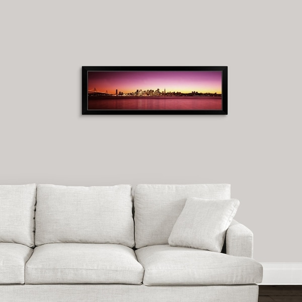"""Buildings at the waterfront, Bay Bridge, San Francisco Bay, San Francisco, California,"" Black Framed Print"