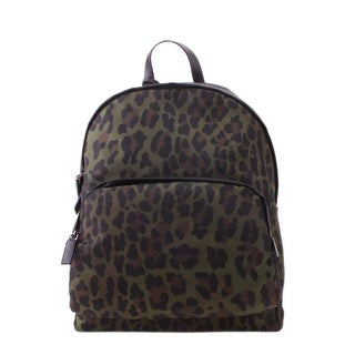 Prada Tessuto Fabric St. Leopard Backpack Handbag - Green - M
