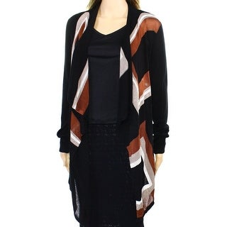 INC NEW Black Beige Brown Colorblock Women's Size XL Cardigan Sweater