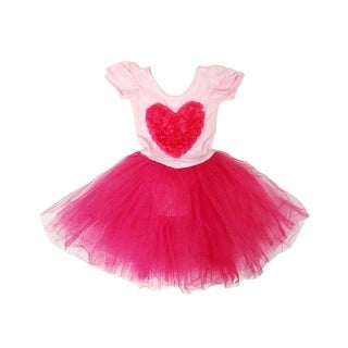 Pink Fuchsia Heart Tutu Ballet Dress Girls L - 4-6x
