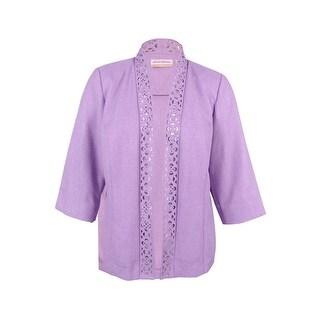 Alfred Dunner Women's Plus Size Lavender Fields Cutout Jacket - Lavendar