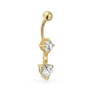 Bling Jewelry Gold Plated Stainless Steel CZ Dangle Heart Navel Belly Ring