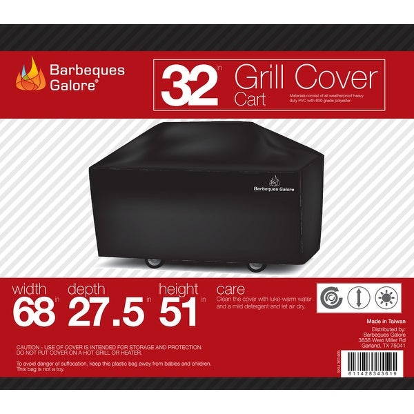 "Barbeques Galore 32"" Grill Cover for Freestanding Gas Grill"