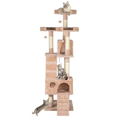 "66"" Sisal Hemp Cat Tree Tower Condo Furniture Scratch Post Pet House"