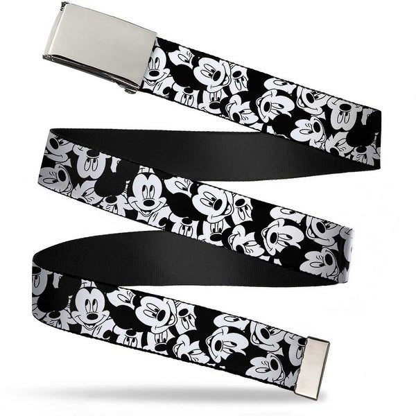 Blank Chrome Buckle Mickey Mouse Expressions Stacked White Black Web Belt