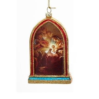 """5"""" Holy Family Mary, Joseph and Jesus Religious Hanging Glass Christmas Ornament"""