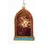 "5"" Holy Family Mary, Joseph and Jesus Religious Hanging Glass Christmas Ornament"