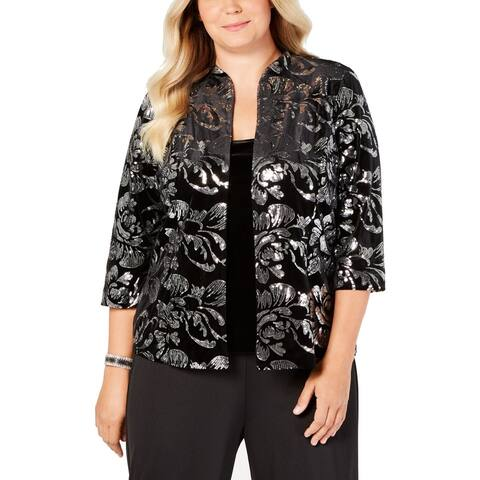 Alex Evenings Women's Jacket Set Black Size 1X Plus Sequin 2-Piece Top