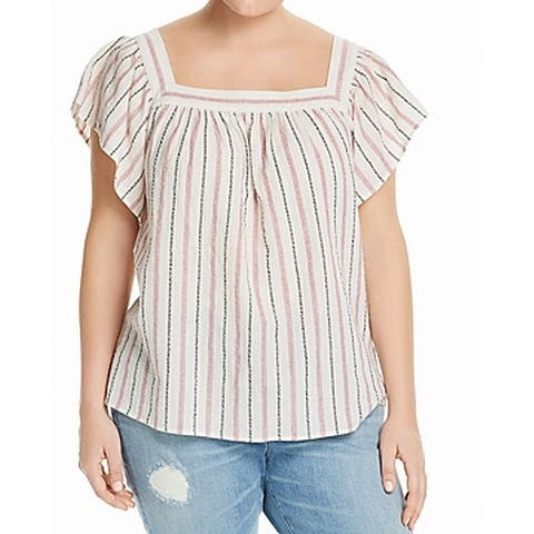 Vince Camuto Rio Red White Womens Size 2X Plus Striped Blouse