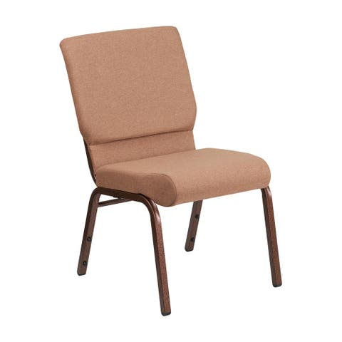 Offex 18.5''W Stacking ChurchChair in Caramel Fabric -CopperVein Frame