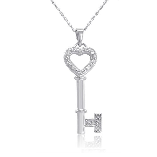 Amanda Rose Sterling Silver and Diamond Key to Your Heart Pendant Necklace 18 in. Chain