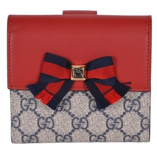 Gucci 435291 Blue Red Bowtie Crystal GG Guccissima French Bifold Wallet